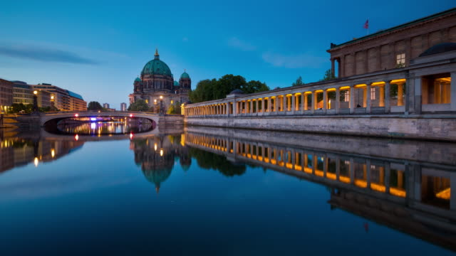 Berlin Cathedral Timelapse from Night to Day with Spree River Reflection