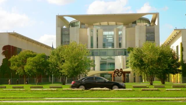 berlin chancellery building bundeskanzleramt, entrance, sunny - chancellor of germany stock videos & royalty-free footage