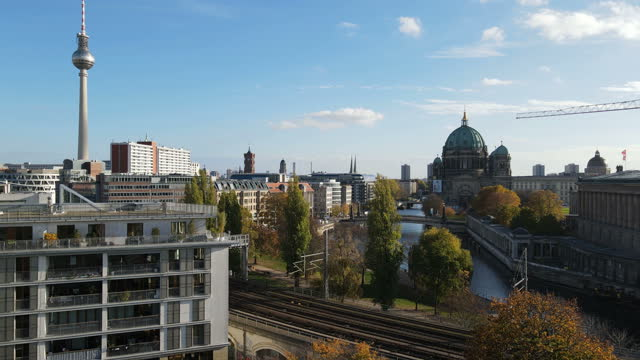 berlin city center from the air - berlin stock videos & royalty-free footage