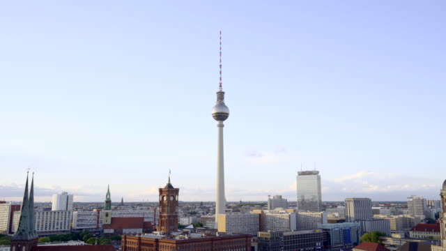 berlin city skyline with the iconic tv tower and the river spree - rathaus stock videos & royalty-free footage