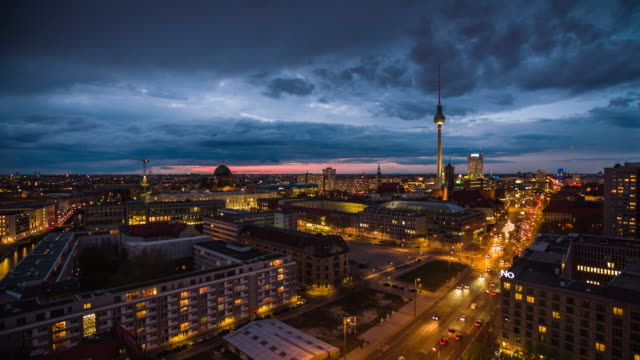 berlin cityscape at dusk - alexanderplatz stock videos & royalty-free footage