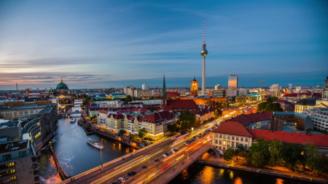berlin cityscape - day to night time lapse - alexanderplatz stock videos & royalty-free footage