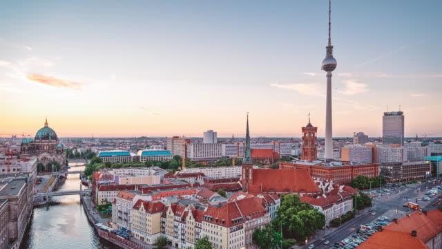 berlin cityscape timelapse 4k - east berlin stock videos and b-roll footage