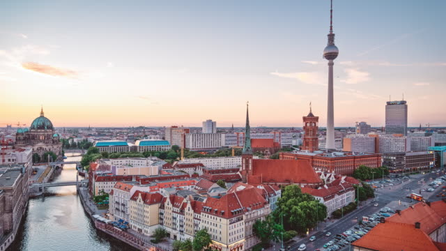 berlin cityscape timelapse 4k - alexanderplatz stock videos & royalty-free footage