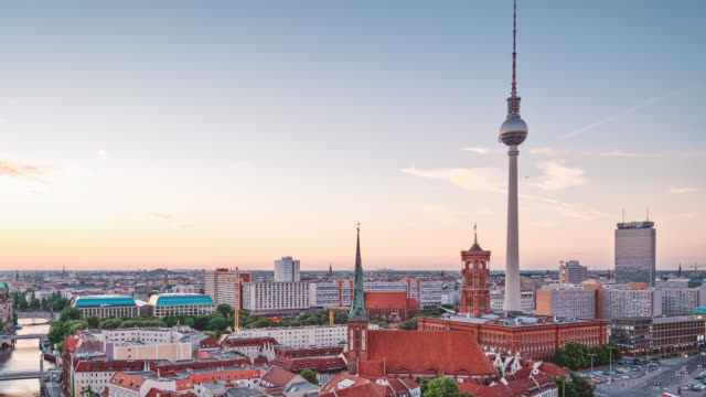 Berlin Cityscape zoom out Timelapse 4K