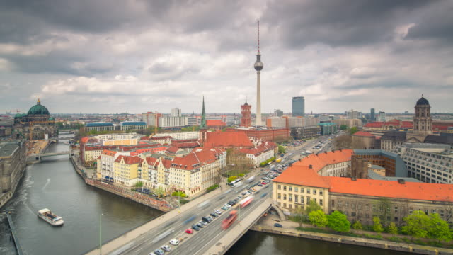 berlin cloud skyline panorama timelapse with traffic - alexanderplatz stock videos & royalty-free footage