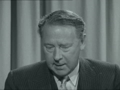 hugh gaitskell interview; england: london: transport house: 2-shot: hugh gaitskell mp interview sof. - says that this is the first pronouncement on... - caucasian ethnicity stock videos & royalty-free footage