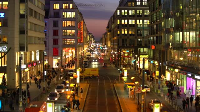 Berlin Friedrichstrasse by night, panning