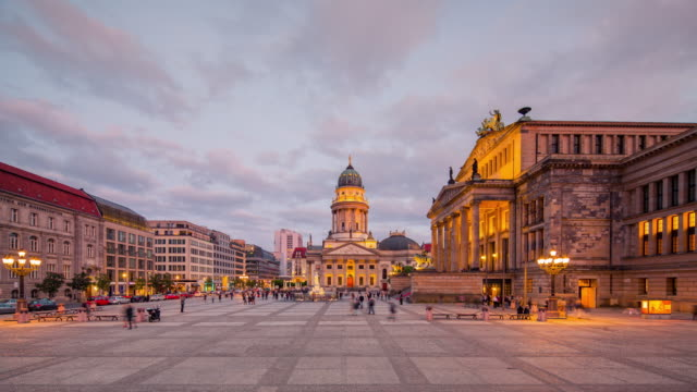 Berlin Gendarmenmarkt Timelapse from Day to Night with moving People