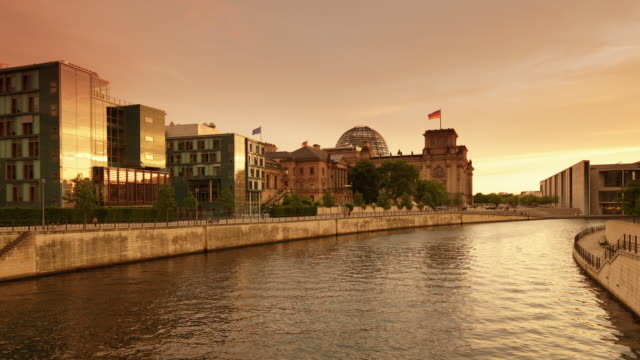 Berlin Government District Skyline Sunset with Reichstag Building
