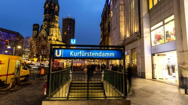 vídeos y material grabado en eventos de stock de berlin kurfürstendamm, lapso de tiempo - iglesia conmemorativa del emperador guillermo