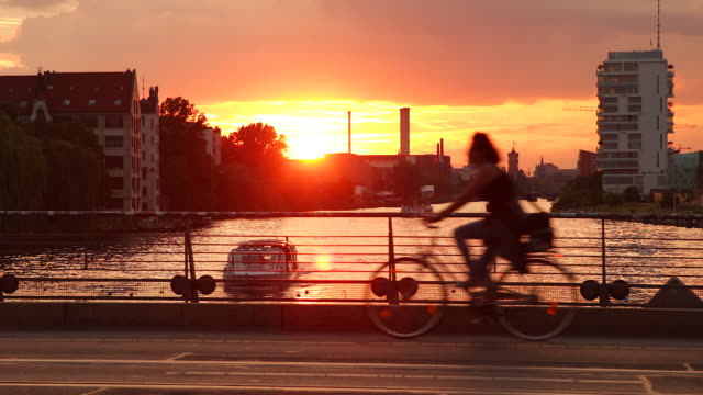 Berlin Local Spree Streetlife and Traffic with Sunset