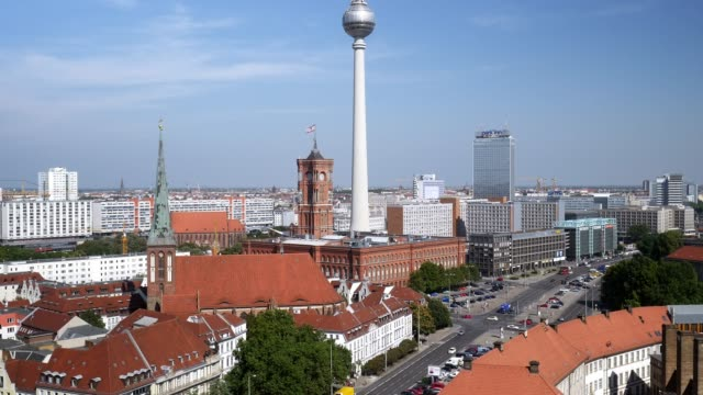 berlin mitte skyline - rathaus stock videos & royalty-free footage