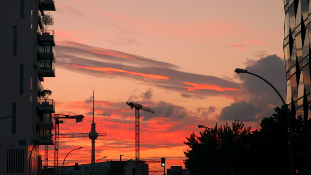 Berlin Modern Living City Skyline with Sunset Timelapse in Berlin-Mitte