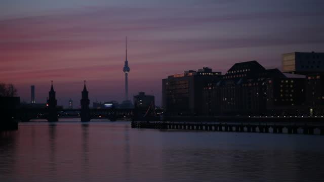 berlin panorama - spree (time lapse) - river spree stock videos & royalty-free footage