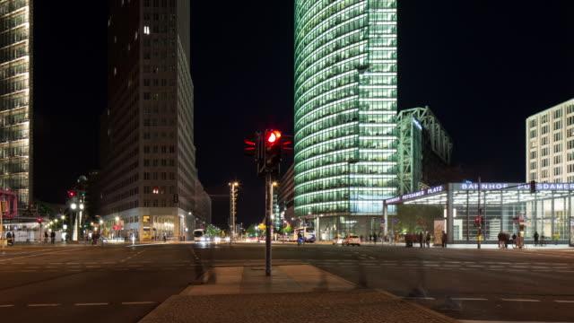 Berlin Potsdamer Platz crossroads at night