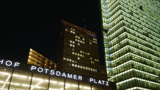 TU Berlin Potsdamer Platz Station And Major Buildings At Night.