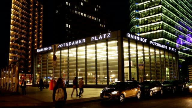 Berlin Potsdamer Platz Station At Night (4K/UHD to HD)