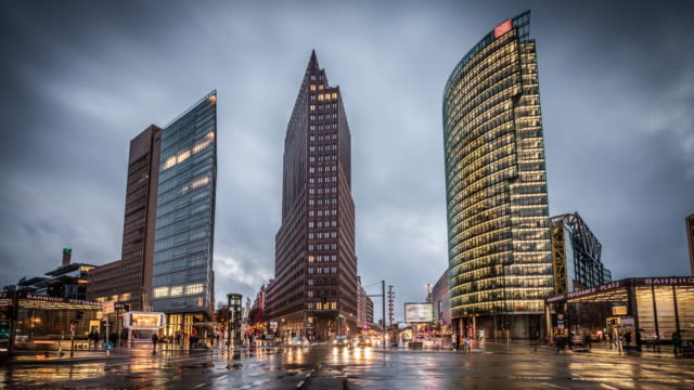 berlin, potsdammer platz with office buildings - dusk stock videos & royalty-free footage