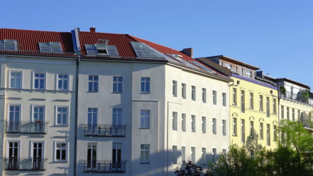 berlin prenzlauer berg apartment houses with tv tower - flat stock videos & royalty-free footage