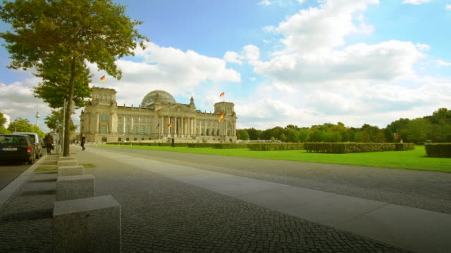 berlin reichstag building and funkturm alex in distance - angela merkel stock videos & royalty-free footage