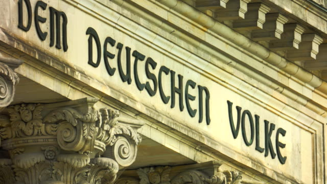 berlin reichstag building detail: dem deutschen volke - chancellor of germany stock videos & royalty-free footage
