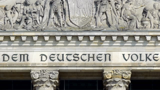 berlin reichstag building gable and dem deutschen volke inscription - gable stock videos & royalty-free footage