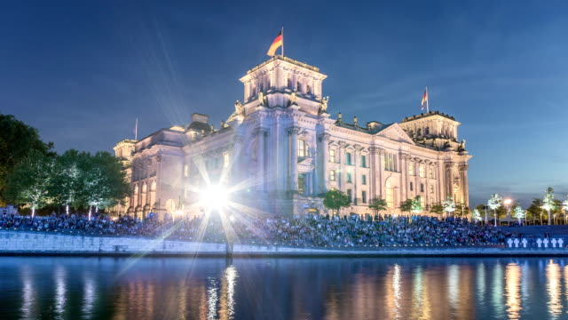 berlin reichstag hyperlapse - german flag stock videos & royalty-free footage