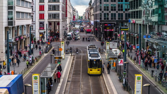 berlin shopping street friedrichstrasse - cable car stock videos & royalty-free footage