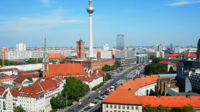 ha berlin skyline and tv tower - rathaus stock videos & royalty-free footage