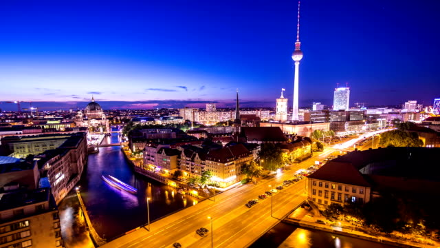 berlin skyline at night - german culture stock videos & royalty-free footage