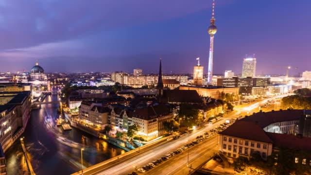 Berlin Skyline at sunset, Time Lapse
