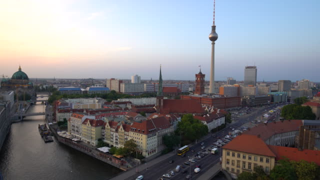 berlin skyline at sunset - alexanderplatz stock videos & royalty-free footage