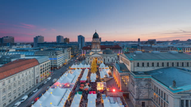 Berlin Skyline Christmas Market Panorama Timelapse on Gendarmenmarkt Berlin