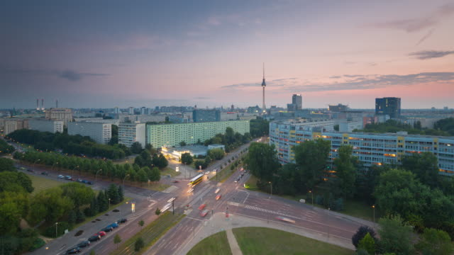 Berlin Skyline City Timelapse from Day to Night with Traffic Lights