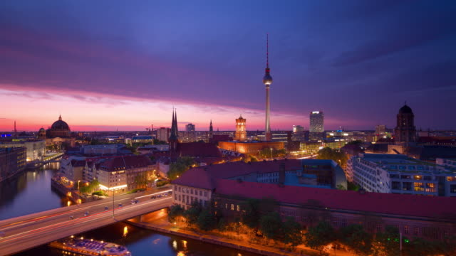 berlin skyline city timelapse from day to night with traffic lights - river spree stock videos & royalty-free footage