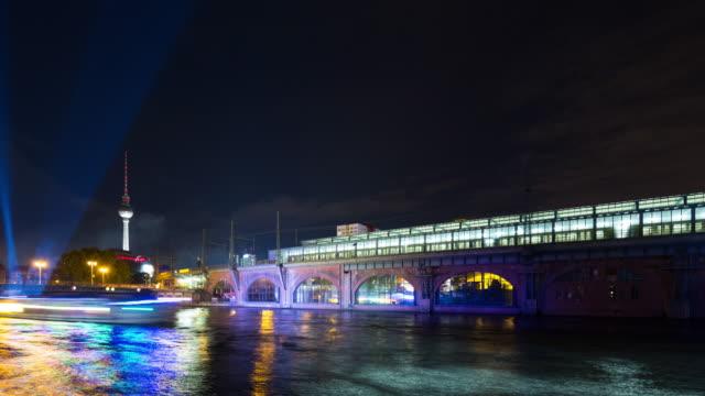 Berlin Skyline Light City Timelapse with Light Speed Boats