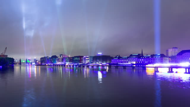 Berlin Skyline Light Reflection Night Timelapse with Lightships on Spree River