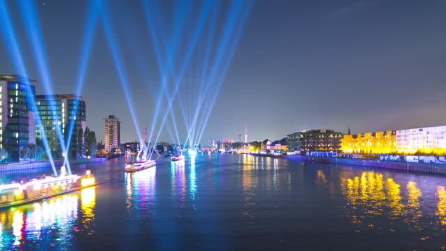 Berlin Skyline Night Timelapse with Lightships on Spree River