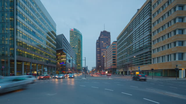 Berlin Skyline on Potsdamer Platz Timelapse from Day to Night with Traffic Lights and Dynamic