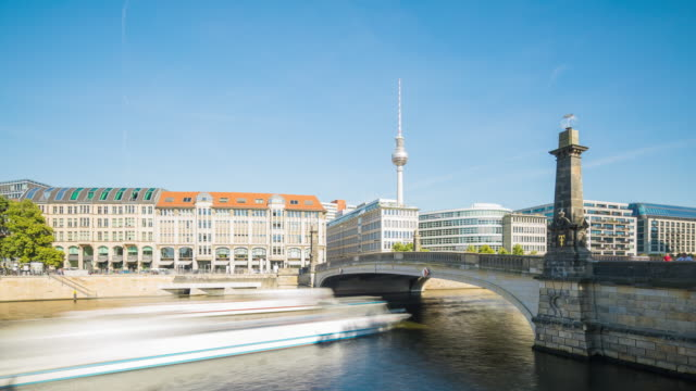 Berlin Skyline Summer Day Timelapse with Ships on Spree River
