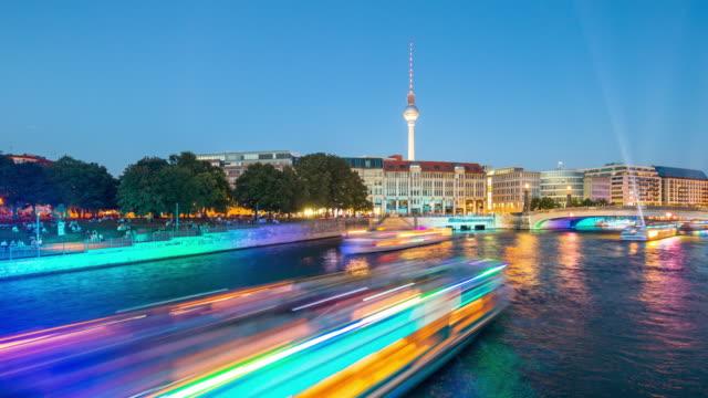 Berlin Skyline Summer Light Night Timelapse with Lightships on Spree River