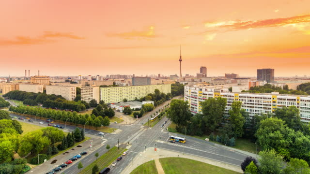 Berlin Skyline Summer Panorama Timelapse with Sunset and Traffic