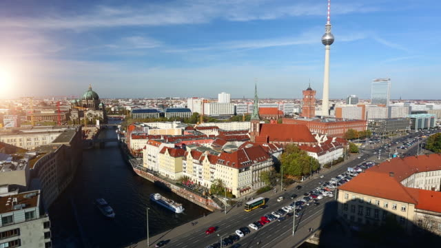 berlin skyline, time lapse - alexanderplatz stock videos & royalty-free footage