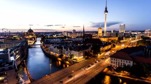 berlin skyline, time lapse - panoramic stock videos & royalty-free footage
