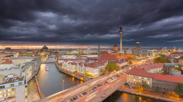 Berlin Skyline Timelapse with Sunset Clouds and Traffic