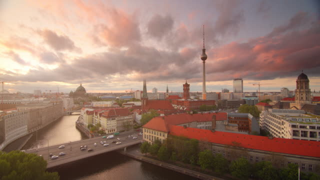 Berlin Skyline with dramatic Clouds Sunset and Traffic