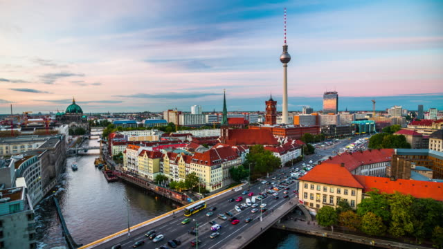 Berlin skyline with Spree river at dusk, Germany