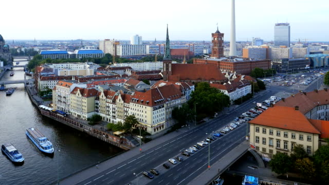 pan t/l berlin skyline with television tower - gold rush stock videos and b-roll footage