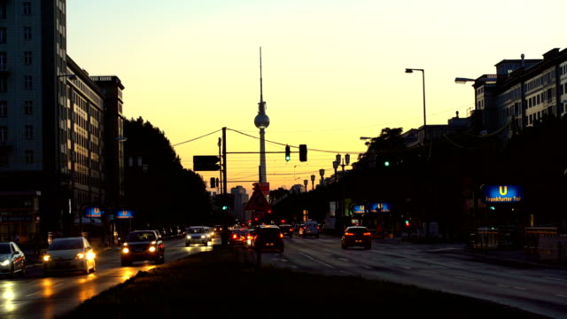 Berlin Skyline with Traffic and TV Tower